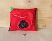 Exotic Red Poppy Cotton Anniversary Gift for Her, Lavender Aromatherapy Pillow