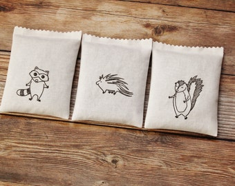 Baby Animal Lavender Sachets - Porcupine, Raccoon, Skunk - Baby Shower Hostess Gift - Woodland Nursery Decor