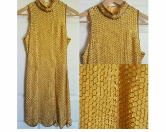 Beaded  100% silk honeycomb dress high neck size small