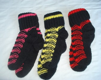"""Handmade knit 3 Socks to Choose from/ Pink Black/ Yellow Black/ Red Black // Ready to ship 8"""" long"""