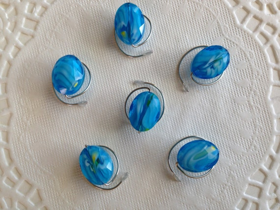 Blue and White HAIR SWIRLS in Faceted Ovals Ballroom Dancing Hair Jewelry