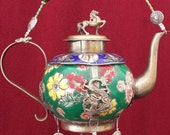 Tibetan Tea--Small Armored porcelain teapot given new life as a Windchime