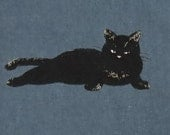 2661C - Adorable Cat Fabric in Prusian Blue, Japanese Cosmo Textile, Cat Fabric, Animal Fabric
