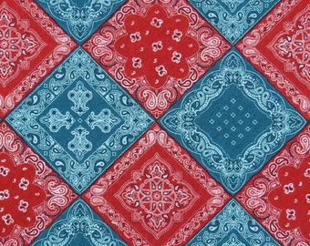 2670A -- Diamond Folk in Red/Turkey Blue, Ethnic, Paisley, Crown Lily, Cotton Twill
