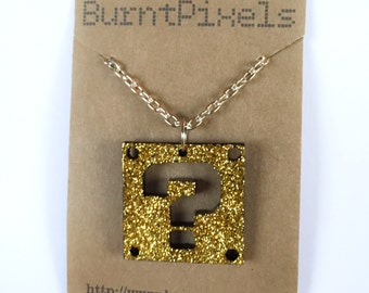 Mario Bros glitter question block necklace