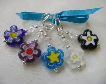 Millefiori Flower Stitch Markers for Knitting or Crochet