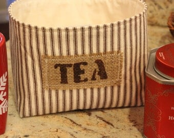Brown Ticking Striped Fabric Basket - Tea