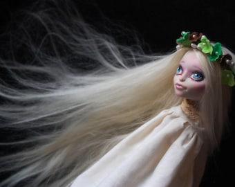 Full custom repainted Monster High Skelita Calaveras Alpaca Hair Reroot. Free shipping