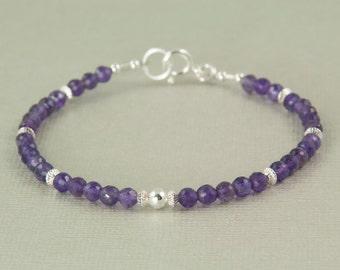 Delicate amethyst bracelet, sterling silver gemstone bracelet, February birthstone, birthday gift for friend, handmade jewelry