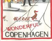 Vintage Souvenir Towel Wonderful Copenhagen Denmark Poster