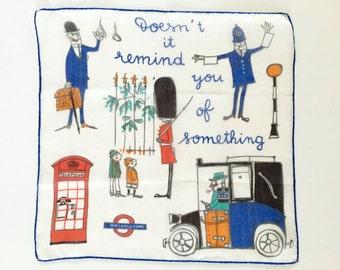 Vintage Handkerchief LONDON England British Novelty Hankie