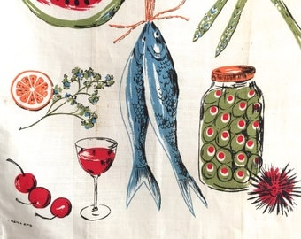 Vintage Kitchen Towel Red Cherries Olive Jar Fish Cordial Glass Virginia Zito