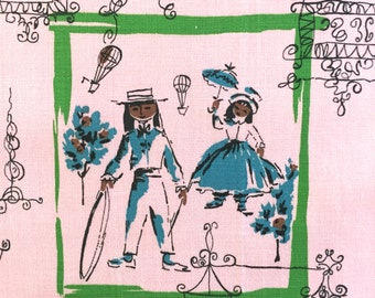 Vintage Pink Fabric Boy Girl Children Playing Outdoor Scenes French Houses