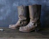 Vintage Frye Boots Distressed Leather Bohemian Halter Brown Biker US Mens 8 N Womens 9 to 9.5 From Nowvintage on Etsy