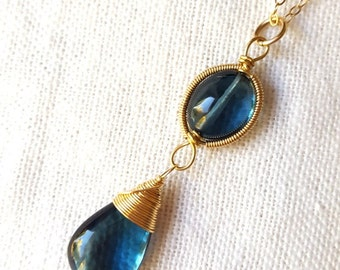 Windsor necklace in London blue topaz-14k gold filled wire wrapped coiled smooth AAA London blue topaz pendant necklace