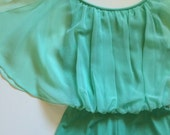 1970's seafoam green bohemian maxi-dress with fluttery chiffon overlay size SMALL