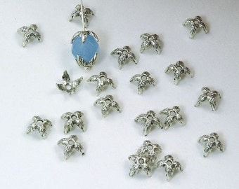 Silver Plated Pewter Pointed Four Leaf Beadcaps 6mm - 50