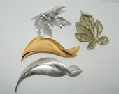 4 Vintage Brooches Gold Silver Tone Leaves Crown Trifari