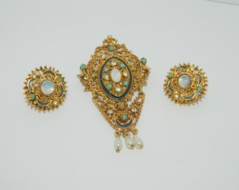 Vintage Signed Florenza Brooch and Clip Earrings Victorian Style Faux Opal Turquoise Pearl