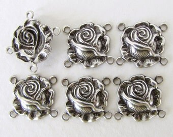 Antiqued Silver Ox Charm Rose Flower Connector Link Metal Finding 15mm cnn0143 (6)