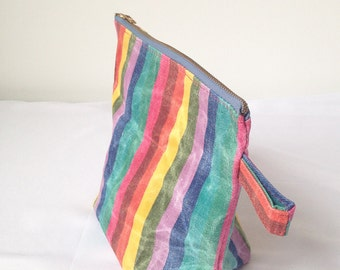 Large Zipper Pouch. Rainbow Toiletry Bag. Large Waxed Makeup Bag. Colorful Clutch Purse. Colorful Modern Clutch. Waxed Canvas Bag