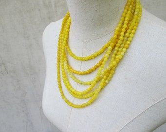 Yellow Multi Strand Faceted Agate Beaded Necklace, Small Beads Layered