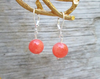 Peach Coral Drop  Petite Bead Earrings
