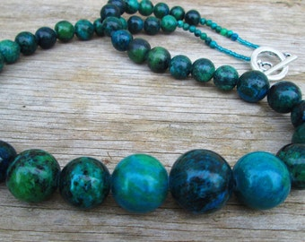 Chunky Blue Green Long Beaded Necklace Natural Stone Chrysocolla Graduated