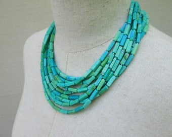 Blue Green Multi Strand Chunky Beaded Collar Necklace, Layered Turquoise Cerulean Beads