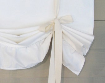 Off White Ruffled Canvas 60 Inch Long Tie Up Shade Custom Made to Order Tie Up Curtain Swag Balloon