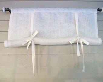 White or Natural Burlap 48 Inch Long Swedish Roll Up Window Shade Stage Coach Blind Tie Up Curtain Swag Balloon