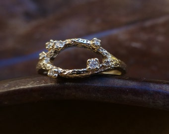 Branch engagement ring.  Textured branch diamond ring. 14k yellow gold branch engagement ring. Ready to ship.