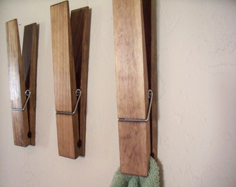 "Jumbo Rustic 12"" decorative clothespin. Bathroom, laundry, photo holder, nursery, office, home, note holder."