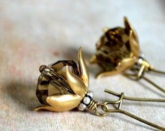 Brass and glass earrings, romantic dangle earrings - Princess