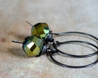Rustic earrings, glass beads and antiqued brass earrings - Mossy Hollow