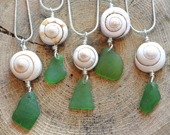 Beach jewelry Green Sea glass wire wrap with natural spiral shell  pendant on a Sterling Silver plated snake chain Necklaces C4