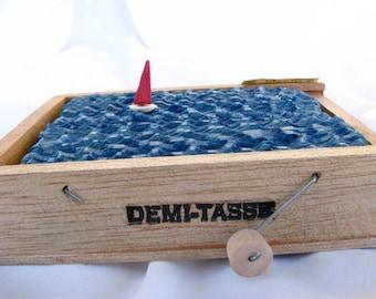 nautical sailboat sculpture, small wood cigar box home decor, kinetic wood boat sculpture