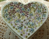 Heart Shaped Box Decorated with Beaded Flowers and  Leaves