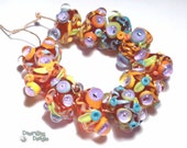 DAQUARI SPICE Lampwork Beads Handmade Red Melon Orange Blue Lime Bold and Vivid (11)
