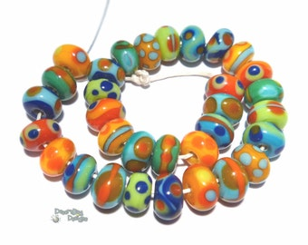 COLOR BABIES Lampwork Beads Handmade - Bright Colors - Tiny Teeny Beads - Turquoise Red Green Yellow Blue