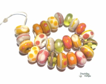 HARVEST Handmade Lampwork Beads Mix of Ivory Cream Coral Squash Gold + Warm Autumn Fall Colors
