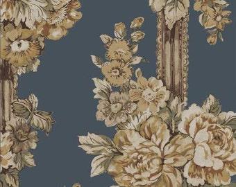 SALE RURU Natural Tone by Quilt Gate floral print 1 yard RU2240-13C Heavier weight cotton linen mix