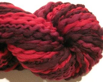 HALF OFF SALE handspun yarn Reds 130 yards red ruby yarn thread plied spiral plied yarn merino wool knitting supplies waldorf doll hair