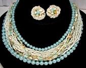 Vintage 1950 Japan, 16 Strand Lgt Blue Pearl, Matrix Bead Necklace Parure, Set