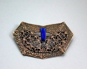 Victorian Sash Brooch, Filigree, Textured Brass, Faceted Glass, Vintage 1900s, C Clasp