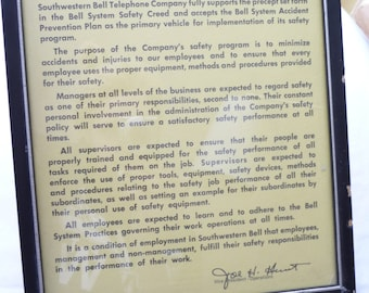Southwestern Bell Safety Policy, Framed Safety Policy, Vintage Telephone Company, Joe H Hunt,Employees Information,Bell Systems,Safety Rules