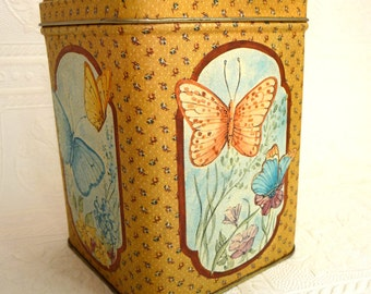 SALE metal tin, vintage metal box, butterfly tin, metal container, lid, vintage home decor, storage, kitchen, office, Princeton Industries