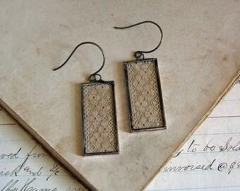 Antique Lace Earrings  Long Drop