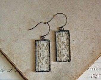 Antique Lace Jewelry Long Dangle Earrings