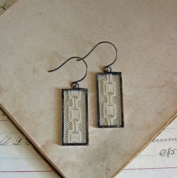 Antique Lace Jewelry Long Dangle Earrings